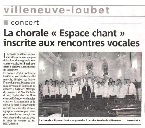 CHŒUR ESPACE CHANT, Concert Noël 2007 église du vieux village de Saint Laurent