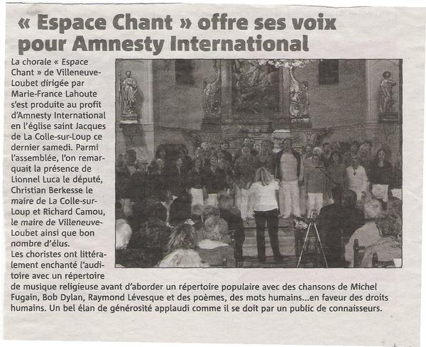 CHŒUR ESPACE CHANT, Concert du samedi 8 mai 2010 au profit d'Amnesty International