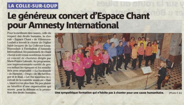 CHŒUR ESPACE CHANT, Concert au profit d'Amnesty International à La Colle sur Loup le 28 Avril 2012