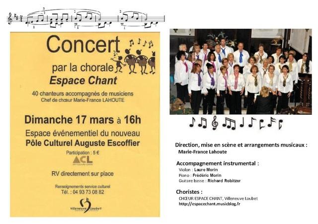 CHŒUR ESPACE CHANT, Concert Dimanche 17 Mars 2013