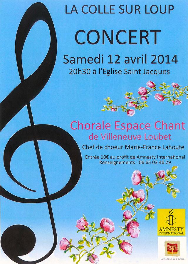 CHŒUR ESPACE CHANT, Concert du 12 avril 2014