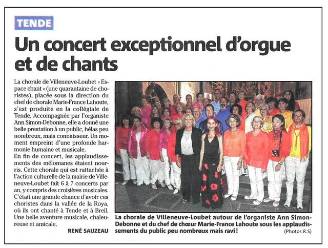 CHŒUR ESPACE CHANT, Concert de Tende