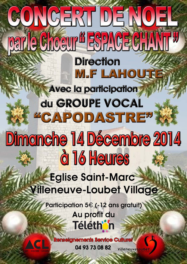 CHŒUR ESPACE CHANT, Concert de Noël - Dimanche 14 décembre 2014